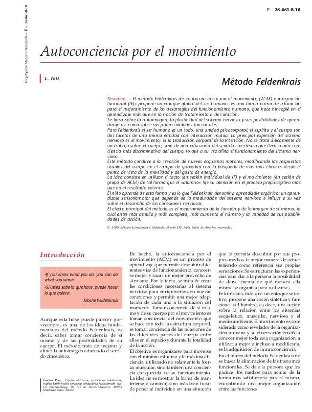 Encyclopédie Médico-Chirurgicale – E – 26-061-B-10  E – 26-061-B-10  Autoconciencia por el movimiento E. Volk  Método Feld...