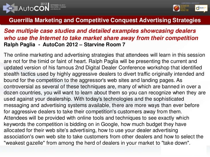 Guerrilla Marketing and Competitive Conquest Advertising StrategiesSee multiple case studies and detailed examples showcas...