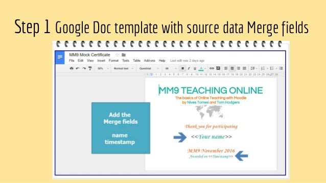 Autocrat to create certificates step 1 google doc template with source data merge fields 7 yadclub Choice Image