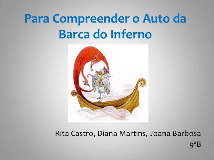 Para Compreender o Auto da Barca do Inferno<br />Rita Castro, Diana Martins, Joana Barbosa <br />9ºB<br />
