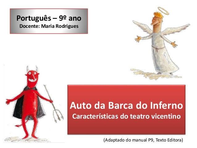 Português – 9º ano  Docente: Maria Rodrigues  Auto da Barca do Inferno  Características do teatro vicentino  (Adaptado do ...