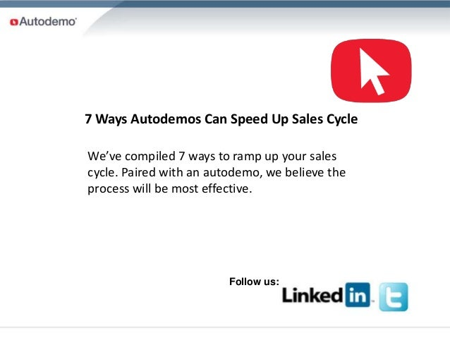7 Ways Autodemos Can Speed Up Sales CycleWe've compiled 7 ways to ramp up your salescycle. Paired with an autodemo, we bel...