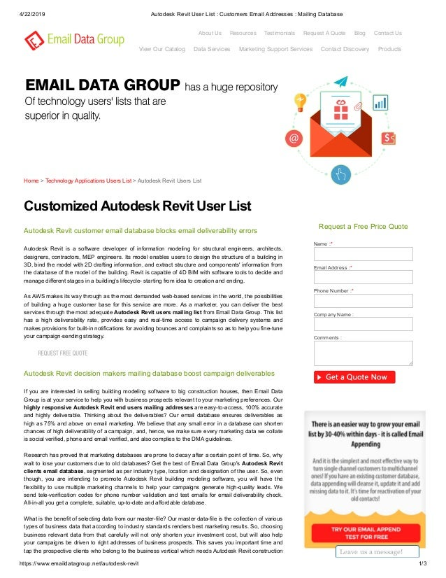 Autodesk Revit Users List - Email Data Group
