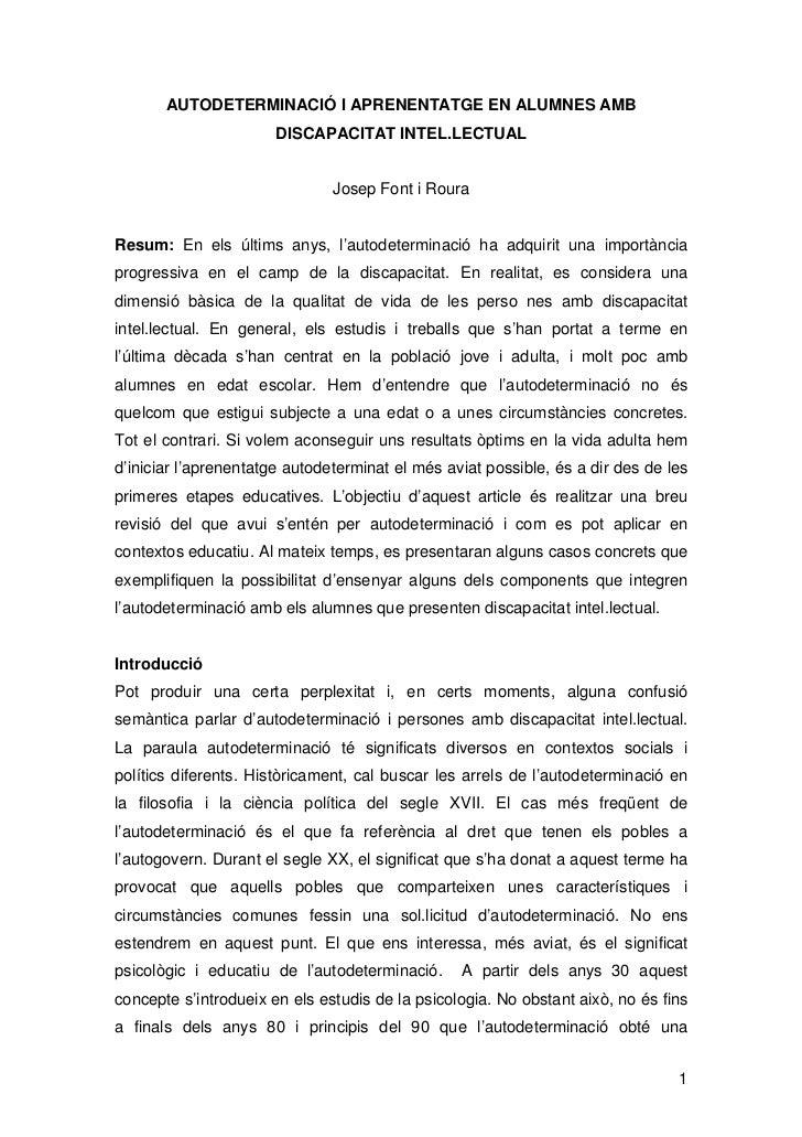 AUTODETERMINACIÓ I APRENENTATGE EN ALUMNES AMB                       DISCAPACITAT INTEL.LECTUAL                           ...