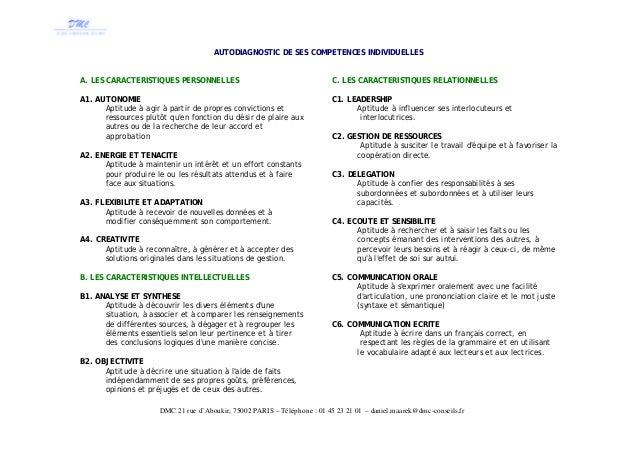 Autodiagnostic de ses competences manageriales - Grille evaluation entretien d embauche ...