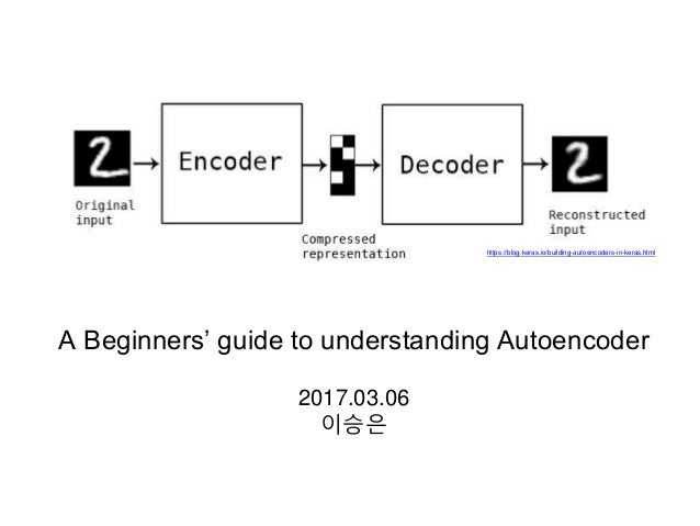 A Beginners' guide to understanding Autoencoder 2017.03.06 이승은 https://blog.keras.io/building-autoencoders-in-keras.html