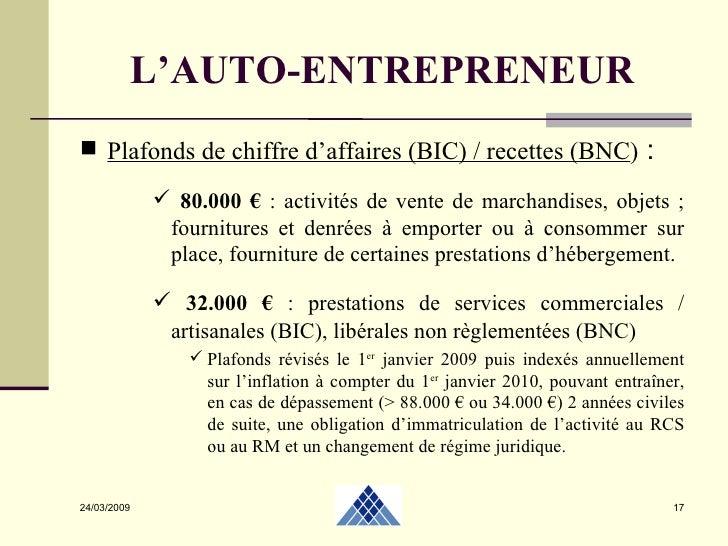 Autoentrepreneur 2 04 2009 - Plafonds auto entrepreneur ...