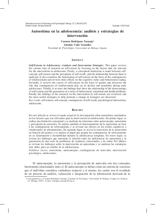 International Journal of Psychology and Psychological Therapy, 12, 3, 389-403 2012 Printed in Spain. All rights reserved....