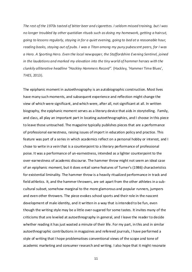 how to start an autoethnography essay