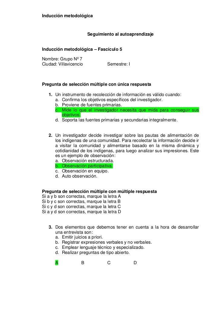 Inducción metodológica                        Seguimiento al autoaprendizajeInducción metodológica – Fascículo 5Nombre: Gr...