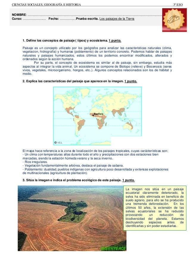 1. Define los conceptos de paisaje ( tipos) y ecosistema. 1 punto.  Paisaje es un concepto utilizado por los geógrafos par...