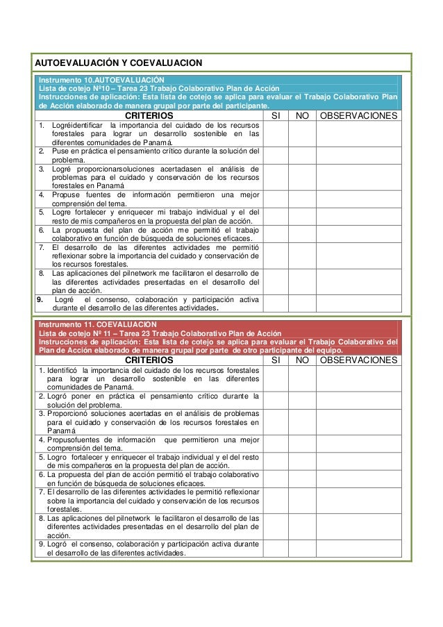 AUTOEVALUACIÓN Y COEVALUACIONInstrumento 10.AUTOEVALUACIÓNLista de cotejo Nº10 – Tarea 23 Trabajo Colaborativo Plan de Acc...