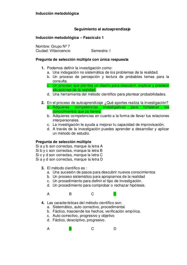 Inducción metodológica                        Seguimiento al autoaprendizajeInducción metodológica – Fascículo 1Nombre: Gr...