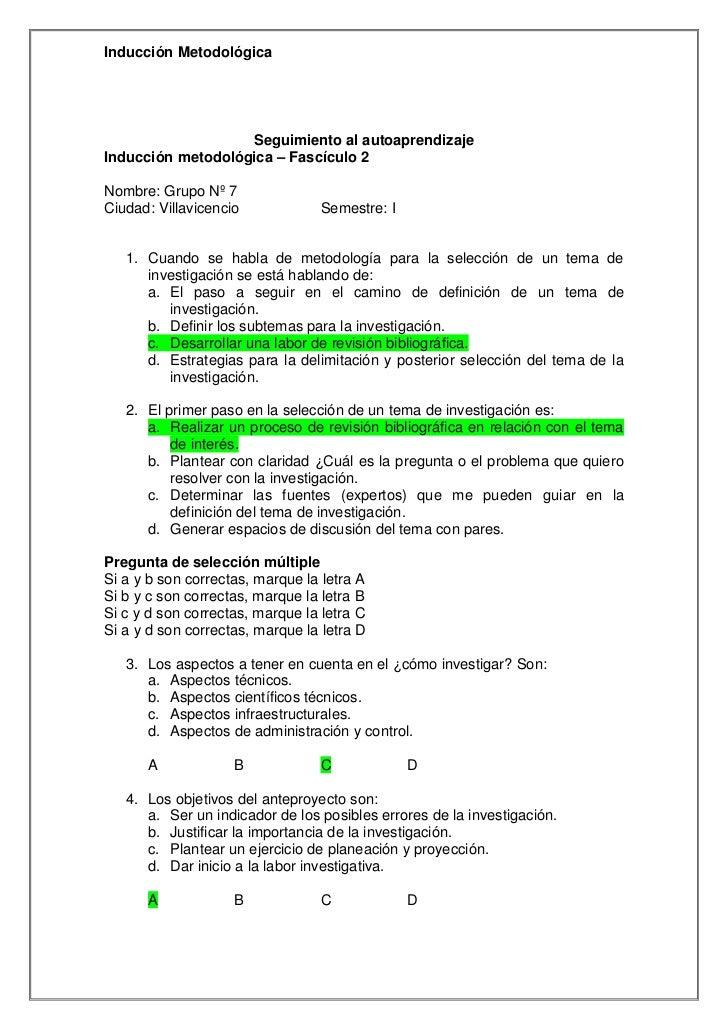 Inducción Metodológica                   Seguimiento al autoaprendizajeInducción metodológica – Fascículo 2Nombre: Grupo N...