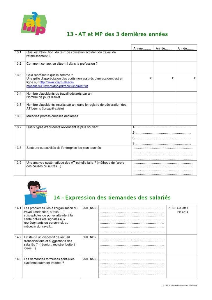 Auto evaluation des risques professionnels - Grille d evaluation des risques professionnels ...