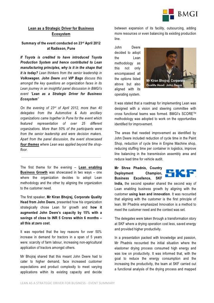 Bmgi Automotive Industry Event Executive Summary
