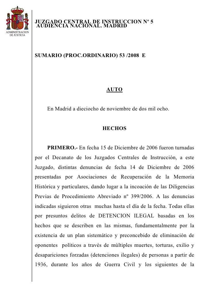 JUZGADO CENTRAL DE INSTRUCCION Nº 5 AUDIENCIA NACIONAL. MADRID     SUMARIO (PROC.ORDINARIO) 53 /2008 E                    ...