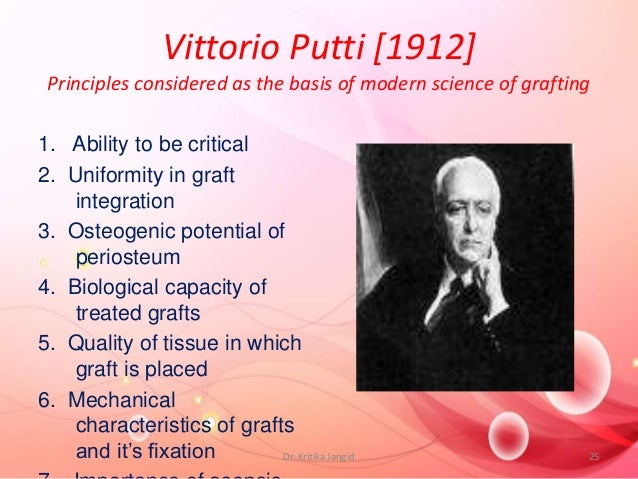 Vittorio Putti [1912] Principles considered as the basis of modern science of grafting 1. Ability to be critical 2. Unifor...