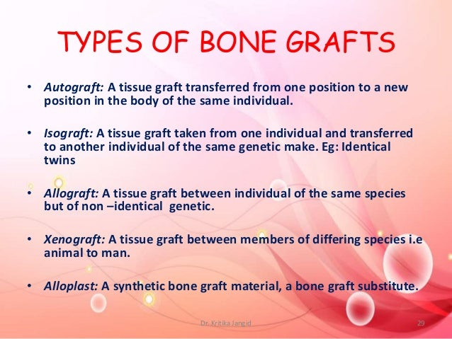 TYPES OF BONE GRAFTS • Autograft: A tissue graft transferred from one position to a new position in the body of the same i...
