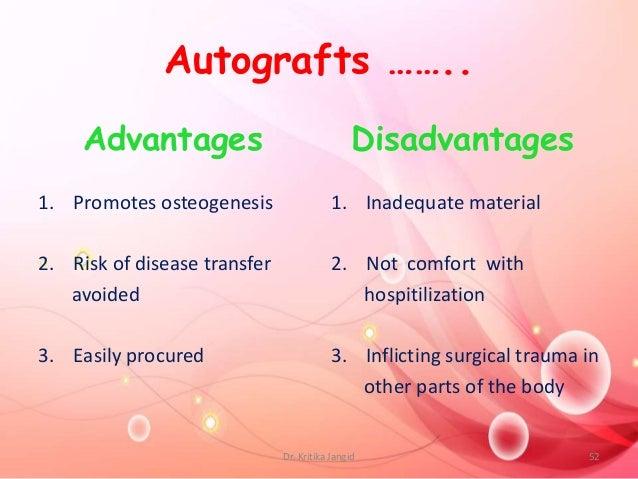 Autografts …….. Advantages 1. Promotes osteogenesis 2. Risk of disease transfer avoided 3. Easily procured Disadvantages 1...