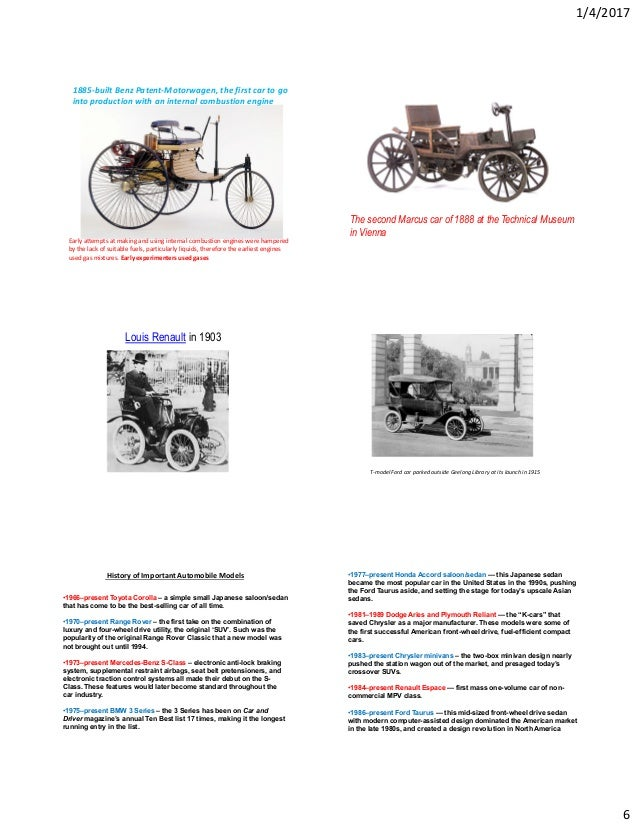 Automobile History for Engineering Students