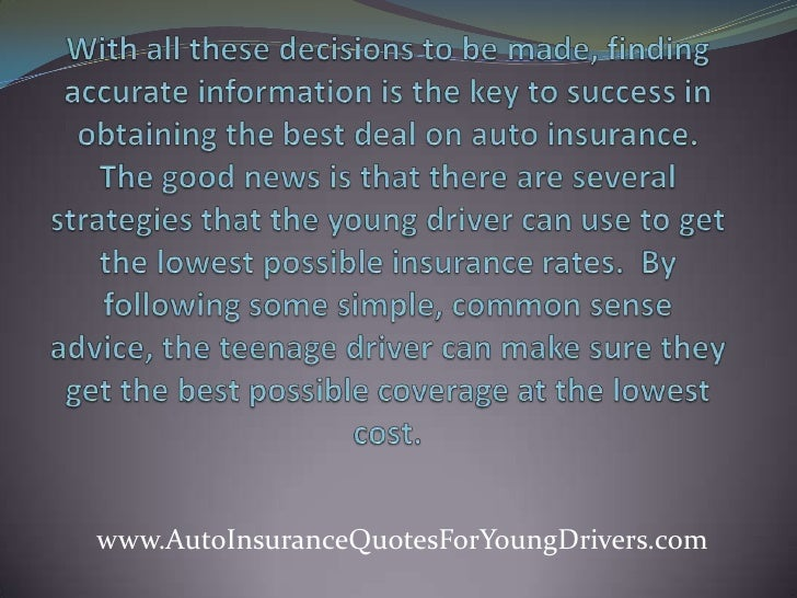 Young Person Car Insurance Quotes: Auto Insurance Quotes For Young Drivers