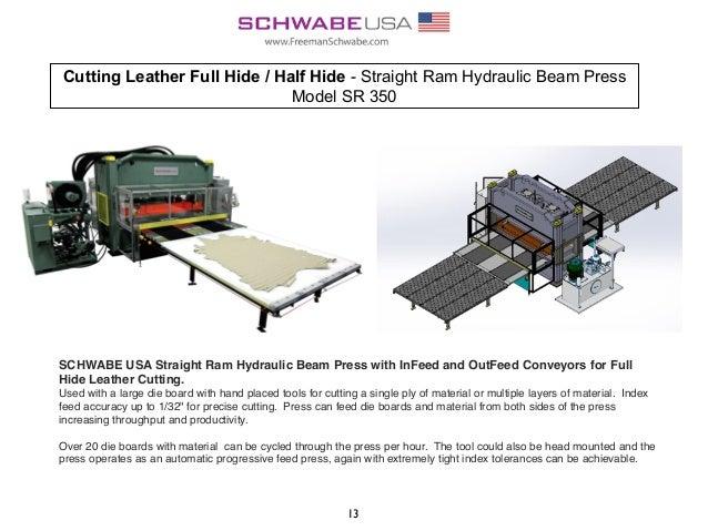 Cutting Leather Full Hide / Half Hide - Straight Ram Hydraulic Beam Press Model SR 350 13 SCHWABE USA Straight Ram Hydraul...