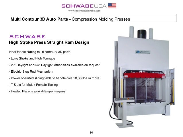 SCHWABE High Stroke Press Straight Ram Design Ideal for die cutting multi contour / 3D parts. - Long Stroke and High Tonna...