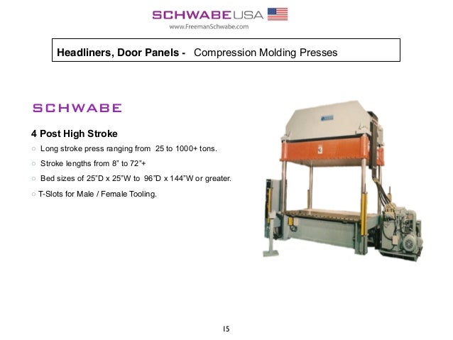 Headliners,Door Panels - Compression Molding Presses SCHWABE 4 Post High Stroke o Long stroke press ranging from 25 to 10...