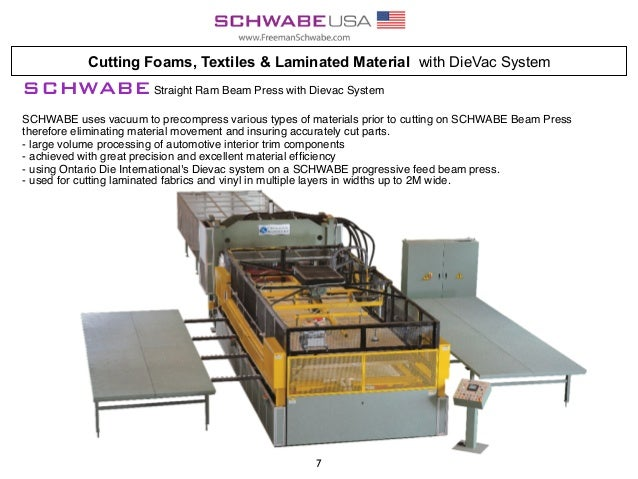 Cutting Foams, Textiles & Laminated Material with DieVac System SCHWABEStraight Ram Beam Press with Dievac System SCHWABE ...