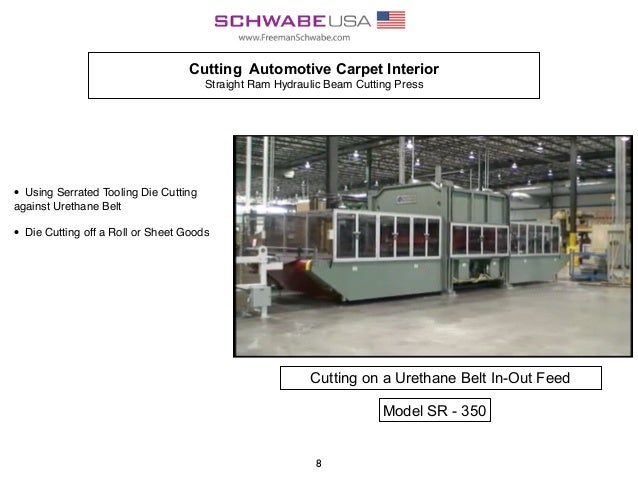 Cutting Automotive Carpet Interior Straight Ram Hydraulic Beam Cutting Press • Using Serrated Tooling Die Cutting against ...