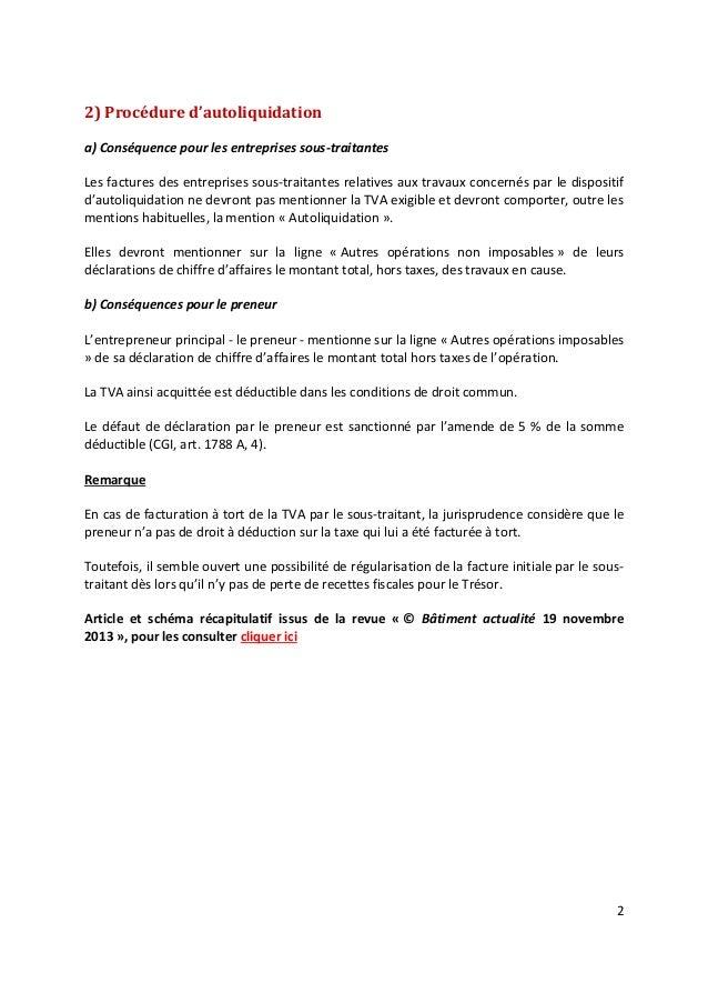 Auto Liquidation De La Tva Batiment Au 1er Janvier 2014