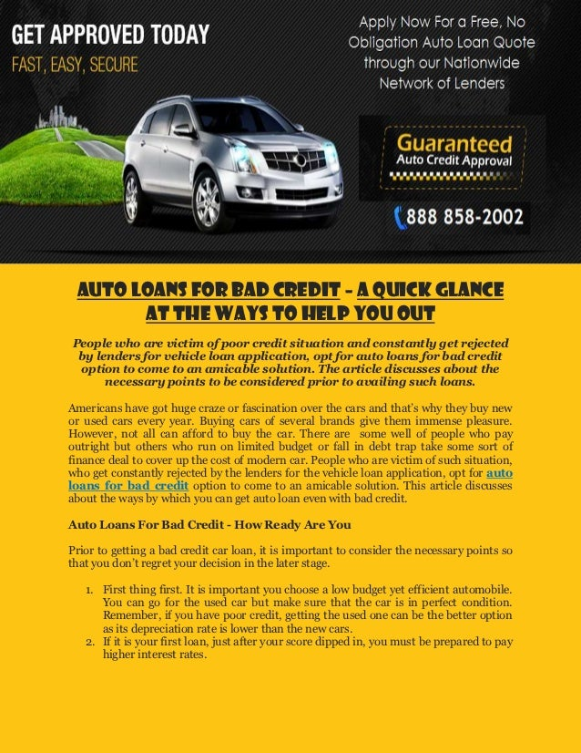 Auto Loans For Bad Credit A Quick Glance At The Ways To Help You Out