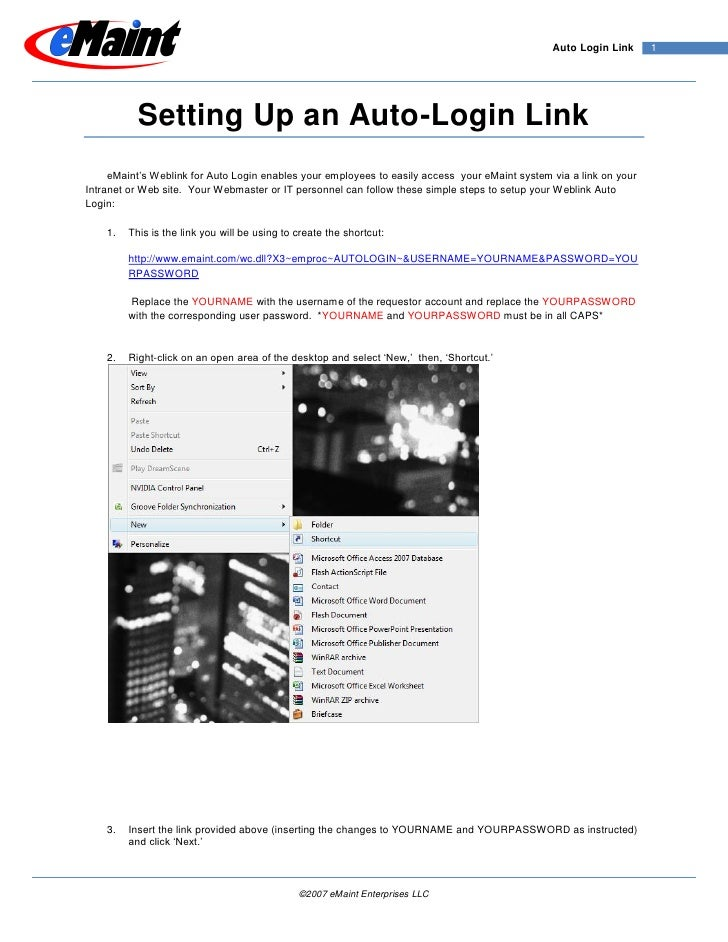 Auto Login Link      1                Setting Up an Auto-Login Link      eMaint's Weblink for Auto Login enables your empl...