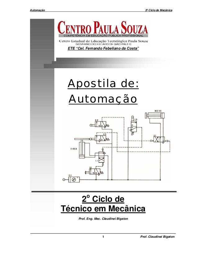 """Automação 2º Ciclo de Mecânica 1 Prof. Claudinei Bigaton ETE """"Cel. Fernando Febeliano da Costa"""" Apostila de: Automação 2o ..."""