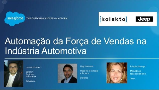 Automação da Força de Vendas na Indústria Automotiva Leonardo Neves Solution Engineer, Automotive Salesforce Hugo Medrado ...