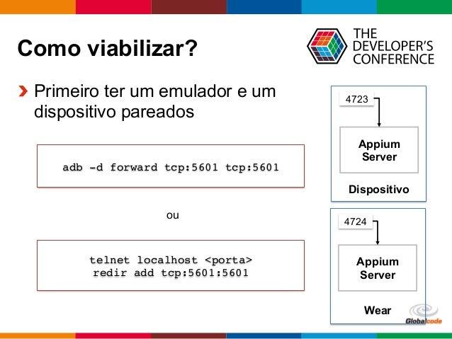 Globalcode  –  Open4education Como viabilizar?  Primeiro ter um emulador e um dispositivo pareados Dispositivo Appium...