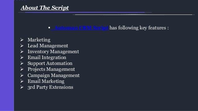 Automan crm script, crm software, open source crm script