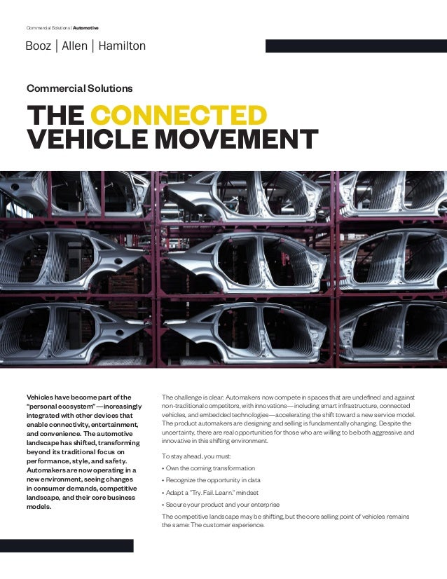 "Commercial Solutions | Automotive Commercial Solutions THE CONNECTED VEHICLE MOVEMENT Vehicles have become part of the ""pe..."