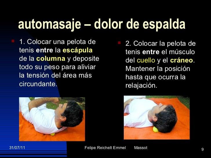 automasaje – dolor de espalda <ul><li>1. Colocar una pelota de tenis  entre  la  escápula   de la  columna  y deposite tod...