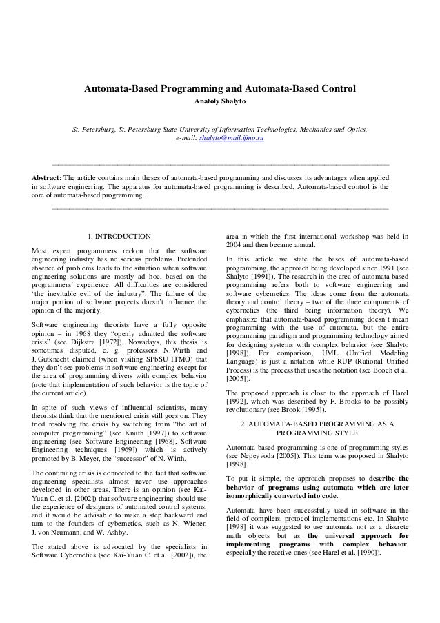 Automata-Based Programming and Automata-Based Control Anatoly Shalyto  St. Petersburg, St. Petersburg State University of ...