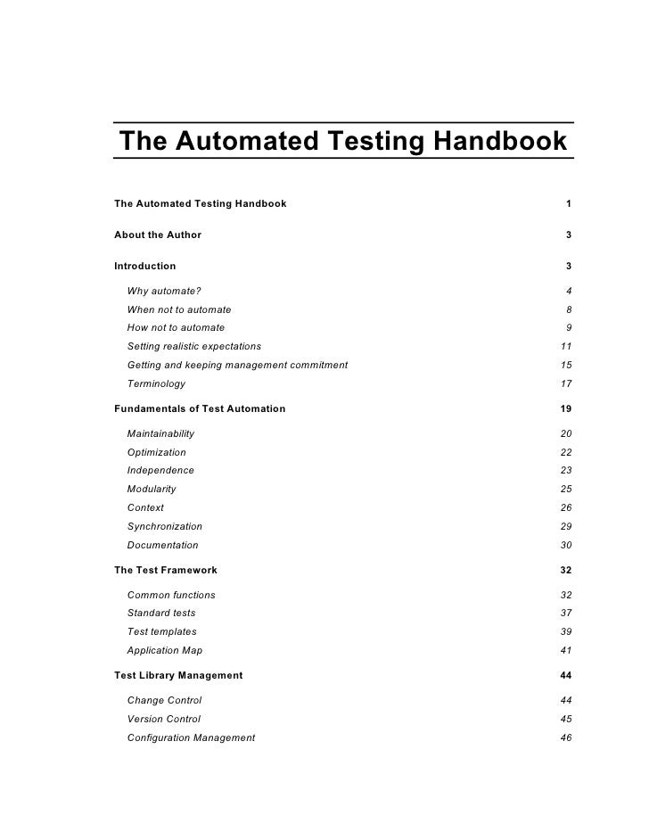 The Automated Testing HandbookThe Automated Testing Handbook                 1About the Author                            ...