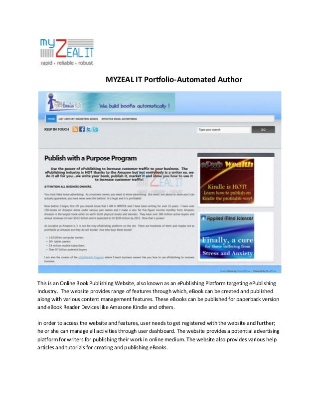 MYZEAL IT Portfolio-Automated Author  This is an Online Book Publishing Website, also known as an ePublishing Platform tar...