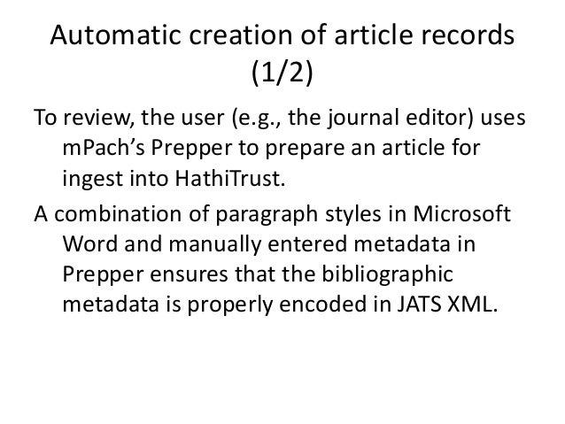 Automated creation of analytic catalog records for born digital journal articles