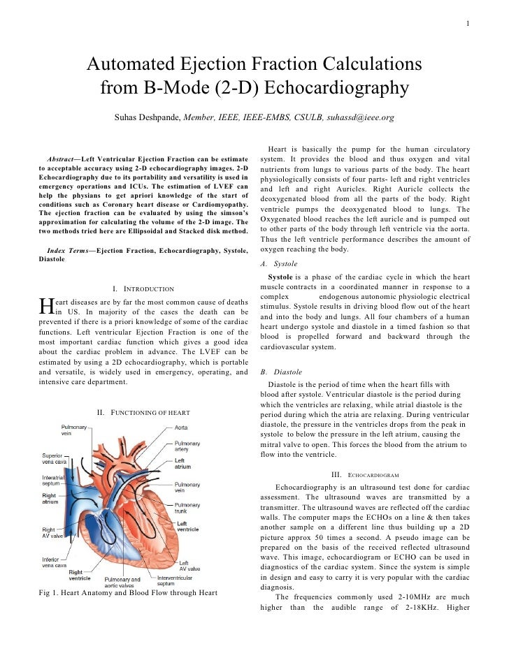 Ejection Fraction 2 D Echocardiography