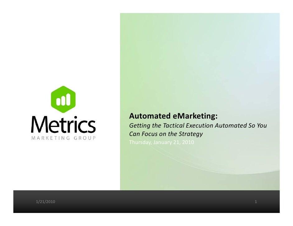 AutomatedeMarketing:             GettingtheTacticalExecutionAutomatedSoYou             Getting the Tactical Execu...