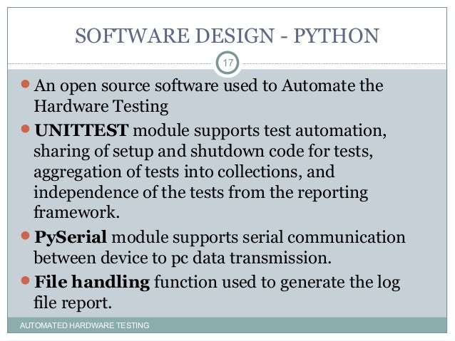 AUTOMATED TESTING USING PYTHON (ATE)