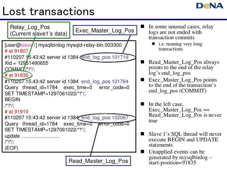 Lost transactions  Relay_Log_Pos                                       In some unusual cases, relay                      ...