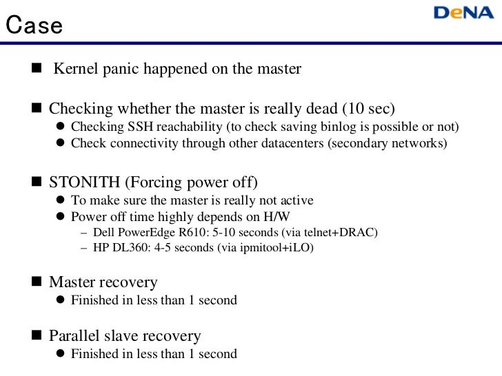Case  Kernel panic happened on the master  Checking whether the master is really dead (10 sec)     Checking SSH reachab...