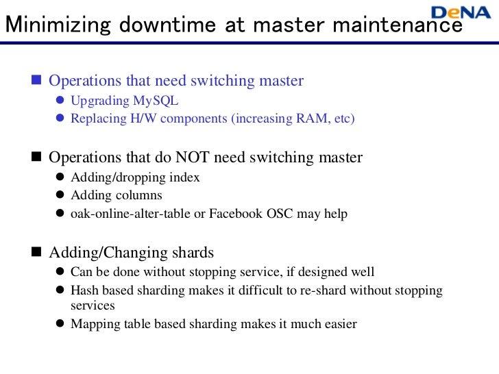 Minimizing downtime at master maintenance   Operations that need switching master      Upgrading MySQL      Replacing H...